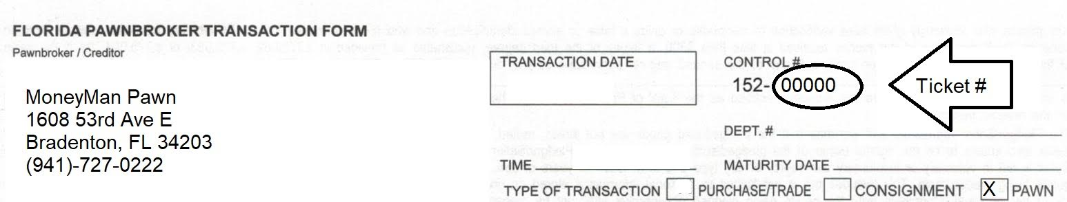 Loan Payment Pawn Ticket Example